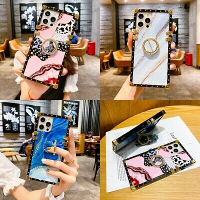 AU14.85 • Buy For IPhone 12 Pro Max 11 XS XR 7 8 Cute Bling Marble Leopard Square Case W/ Ring