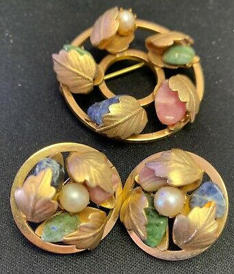 $5.99 • Buy Vintage Sarah Coventry Floral Brooch And Earrings Set Pearl, Rose Quartz