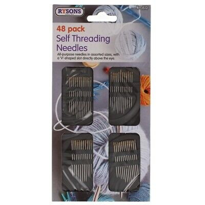 £2.29 • Buy 48 Self Threading Hand Sewing Needles Assorted Sizes Easy Thread Craft