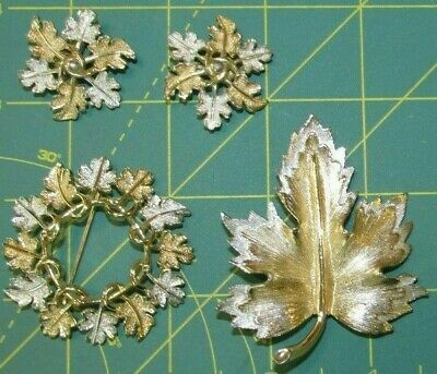 $16.99 • Buy LOT SET SARAH COVENTRY Brushed Gold Silver LEAVES Brooches Clip Earrings PIN