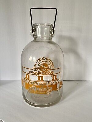 $165 • Buy The Soeder And Sons Milk Co Gallon Clear Glass Milk Bottle Cleveland RARE