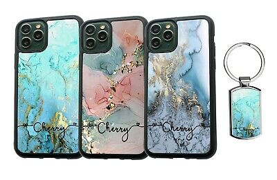 AU13.99 • Buy PERSONALISED Name Marble Silicone Case For IPhone XS MAX 11 12 Pro Max + Keyring