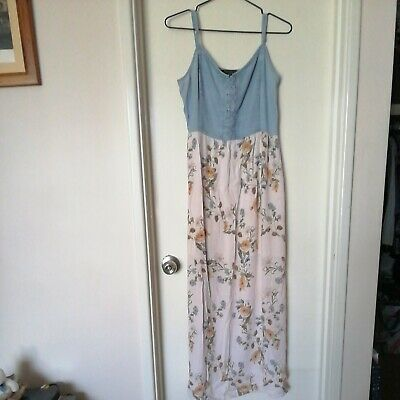 AU28 • Buy Forever New Denim And Floral Size 12 Maxi Dress