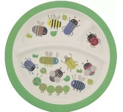 £3.99 • Buy Busy Bugs Kids Toddler Bamboo Plate Sections Cute Lunch Dinner Snack Childrens
