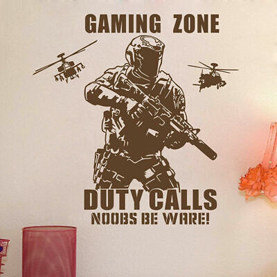 $15.03 • Buy Gaming Zone Wall Art Sticker Duty Call Solider Helicopters Boys Room Decal Decor