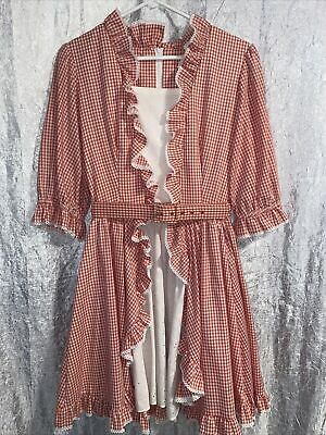 $39.99 • Buy Square Dance Dress Co Vintage Dress Size 14 Red And White Gingham 3/4 Sleeves
