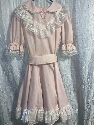 $39.99 • Buy Jeri Bee Vintage Square Dance Dress Pink With White Dots Size 12 3/4 Sleeves