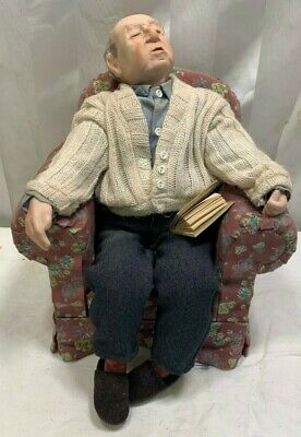 $ CDN62.42 • Buy Vintage Old Man Wood Chair Porcelain Doll With A Book Original 10
