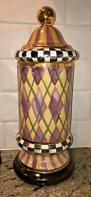 $250 • Buy Mackenzie Childs Ceramic Argyle Courtly Check 17  Tower Canister Frank & Mustard