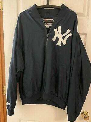 $20 • Buy New York Yankees Majestic Pullover Warm Up Jacket L 1/4 Zip