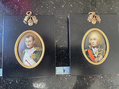$499 • Buy RARE- Pair Of Military  Hand Painted Minia ART PORTRAIT PAINTING OF NAPOLEON