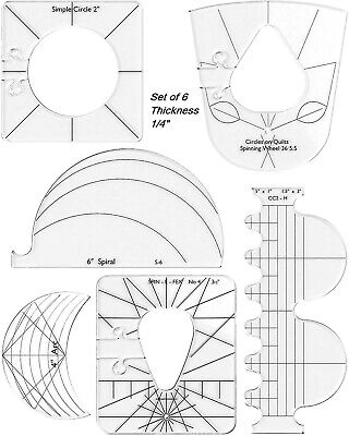 """$28.99 • Buy 6 Pcs Quilting Ruler Template Set Sewing Tool Kit ¼"""" For Domestic Sewing Machine"""