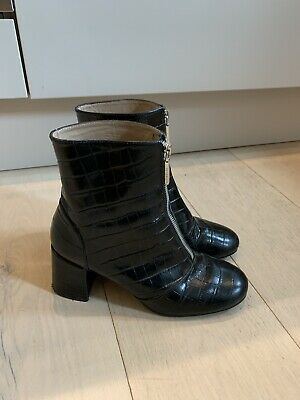 £5 • Buy WHISTLES Black Croc Mid Heel Ankle Boots Size 5 38