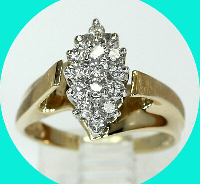 AU373.09 • Buy 55CT Diamond Cluster Bypass Ring 14K Yellow Gold 5 Round Brilliant4 GM Sz 6