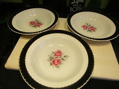 £6 • Buy Three Vintage Barratts Delphatic China Bowls - Red Rose - Fluted Black Border