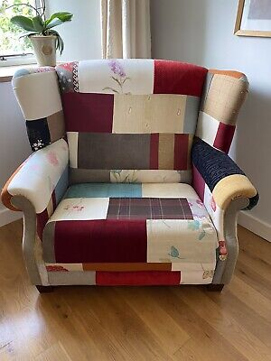 £100 • Buy Large Over Size Massive Patchwork Arm Chair