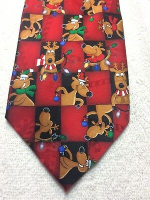 $20.77 • Buy Hallmark Mens Tie Christmas Red With Dogs 4 X 60 Nwot