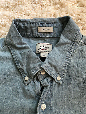 $9.99 • Buy J Crew Short Sleeve Stretch Chambray Button Front Shirt- Mens Large