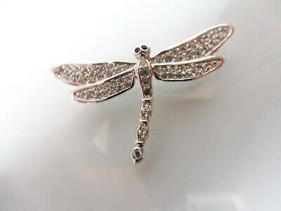 £43.60 • Buy Beautiful Brooch, Dragonfly, Silver Plated With Stones, 4,7cm, Swarovski