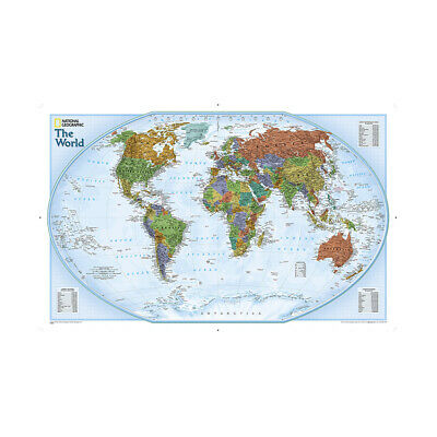 AU12.92 • Buy WORLD MAP ATLAS DETAILED POSTER LARGE PRINT SIZE 59*39in