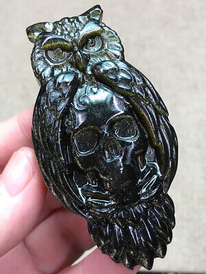 $2.25 • Buy 1PC Natural Gold Obsidian Quartz Crystal Carved Owl And Skull Healing