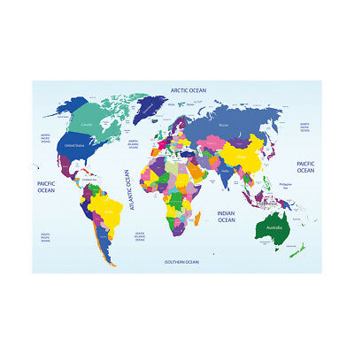 AU12.92 • Buy WORLD MAP LARGE COLORFUL POSTER ART PRINT SIZE 59*39in