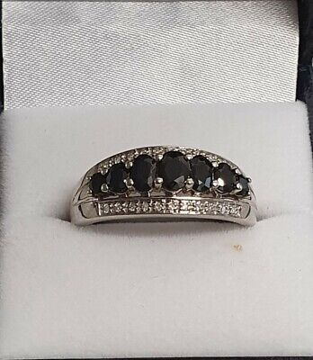 AU400 • Buy 9ct White Gold Rhodium Plated Diamond And Sapphire Dress Ring Size V!