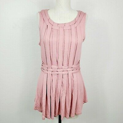 $ CDN30.57 • Buy One September Anthropologie Tank Top S Dusty Rose Pink Knit Pleated Sleeveless