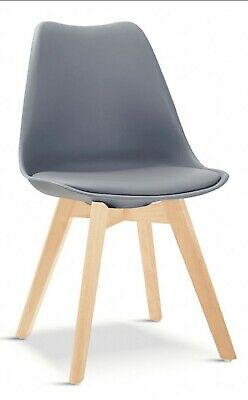 £64.99 • Buy 2 X Tulip Pyramid Dining Chairs With Beech Legs, Deep Grey NEW & BOXED