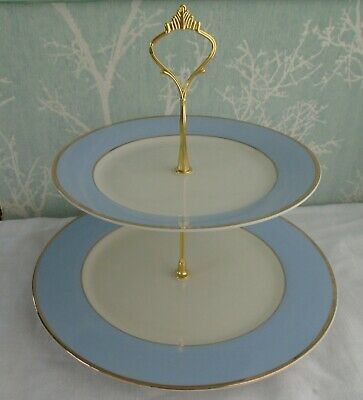 £10 • Buy Royal Doulton Bruce Oldfield 2 Tier XL Cake Stand Baby Blue & White Plates