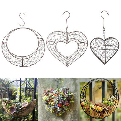 £21.43 • Buy Moon & Heart Shaped Metal Wire Wreath Frame Form Hangers For Succulents, Pack Of