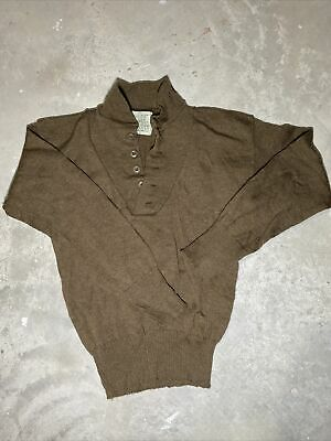 $25 • Buy Military Issue Sweater Men's 100% Wool 00 Large 42-44 Olive Brown