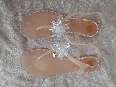£8.50 • Buy Pink Nude Crystal Embellished Jelly Toepost Sandals Size 4