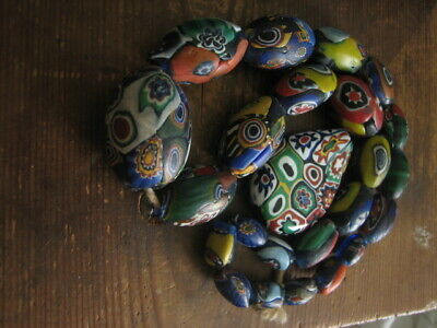 £5.99 • Buy Large Antique Millefiori Glass Beads Necklace For Restring Italy Spares Repairs