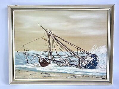 £25 • Buy Original Oil Painting On Board Sea Ship Wreck Boat Wreck Artist Roy Didwell 1980