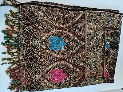 $0.99 • Buy Beautiful Multi-Colored Scarf/Shawl - Burgundy With Blue And Pink Designs