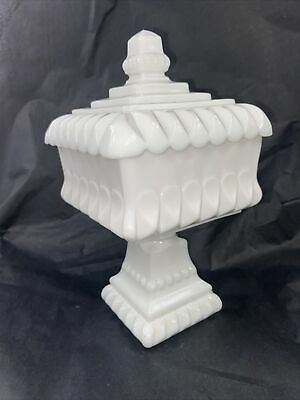 $25 • Buy Vintage Westmoreland Milk Glass Pedestal Square Compote Candy Dish W/ Lid