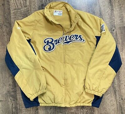 $49.99 • Buy MILWAUKEE BREWERS Majestic Authentic MLB Collection Dugout JACKET Mens Size XL
