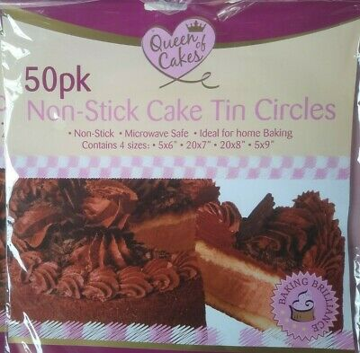 £0.99 • Buy 50 Greaseproof Non Stick Paper Cake Tin Circles Baking Liners 6 7 8 9 Inch