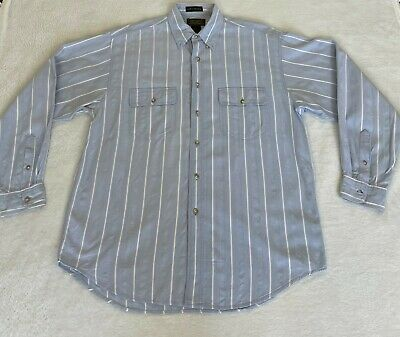 $24.95 • Buy Eddie Bauer Mens Shirt Size L Button Up Striped Long Sleeve Northwest Chambray