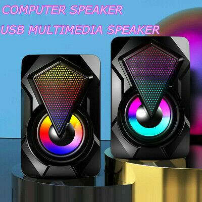 £9.39 • Buy Surround Sound System LED Speakers Gaming Bass USB Wired For Desktop Computer PC