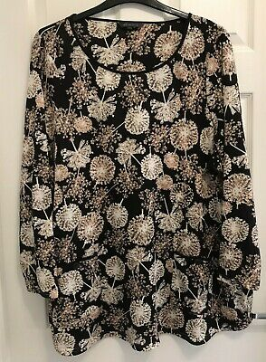 £6.99 • Buy M & S - SIZE 28 BLACK With PALE BROWN FLORAL PRINT TOP