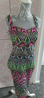 £5.99 • Buy River Island Aztec/ Summer Print Cut Out Bodycon/ Wiggle Middi Dress Size 10
