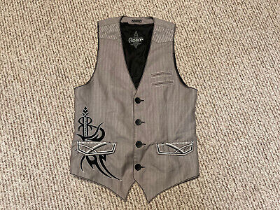 $14.99 • Buy Roar Men Striped Gray Vest Size Small Embroidered Pockets Button Up Graphic