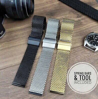 £10.95 • Buy Metal Milanese Mesh Watch Deployment Strap Band In Gold Black Silver 18 20 22mm