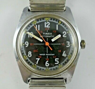 $49.99 • Buy Vintage 1978 Timex Automatic Date 24HR Military Crosshair Dial Watch Runs Lot.e