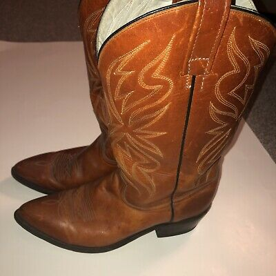 $59.99 • Buy Vintage ACME Brown Leather Western Mens Cowboy Boots Style #4648 3 70 Size 9D