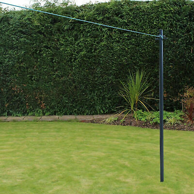 £21.89 • Buy 2.4m JVL Galvanised Heavy Duty Clothes Washing Line Post Pole Support And Socket