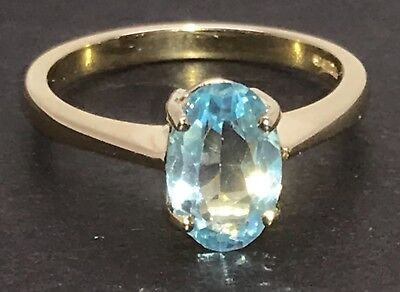 £225 • Buy Solid 9ct Gold Sky Blue Topaz Gemstone Ring, Oval, Solitaire, UK Size O. New.