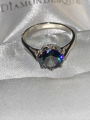 £4.10 • Buy Sterling Silver Mystic Topaz Solitaire Ring  Size M Stunning !